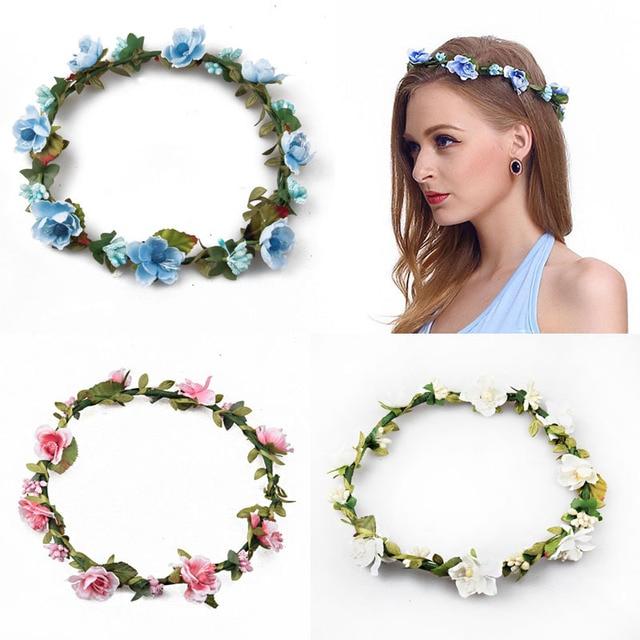 daffaacf025 2018 Flower crown women Flower Hair accessories girl fashion Wreath Floral  Headwear Bridesmaid headband