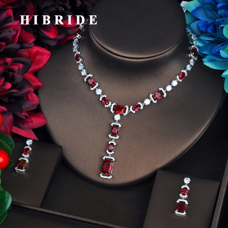 HIBRIDE Sparkling Fashion Red Cubic Zircon Jewelry Sets For Women Necklace Set Wedding Dress Accessories Party