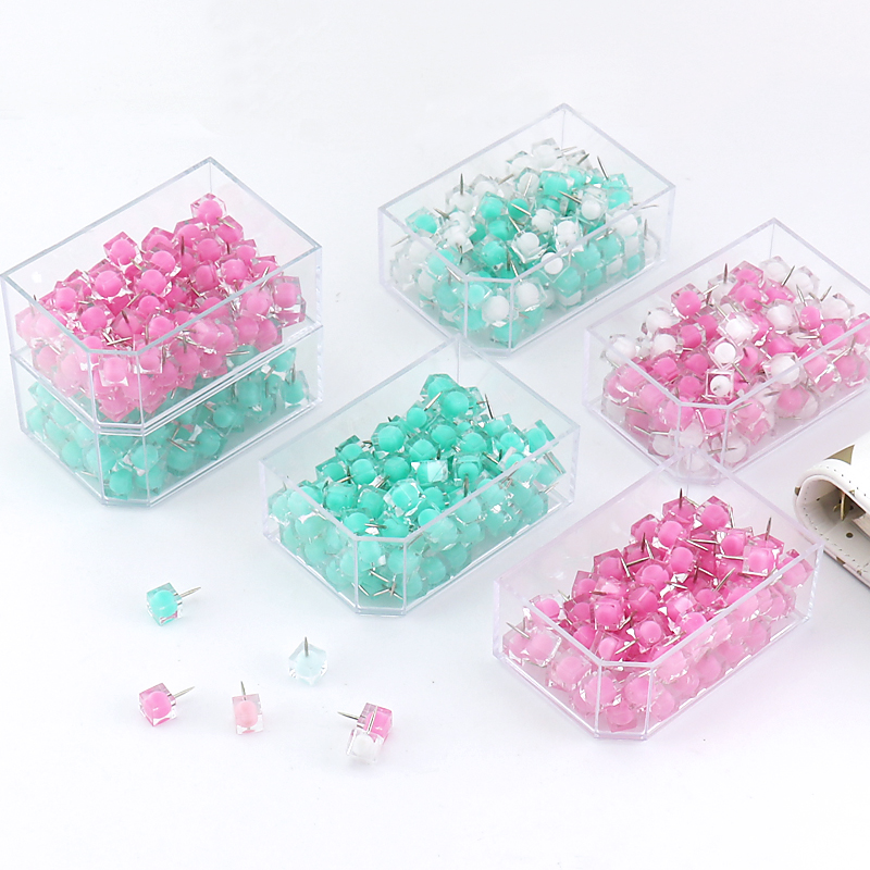 TUTU 80 Pcs/box Ball Head Pin Jelly Thumb Tacks Marcaron Color Push Pins Thumbtack Pins For Cork Board Decorative H0224