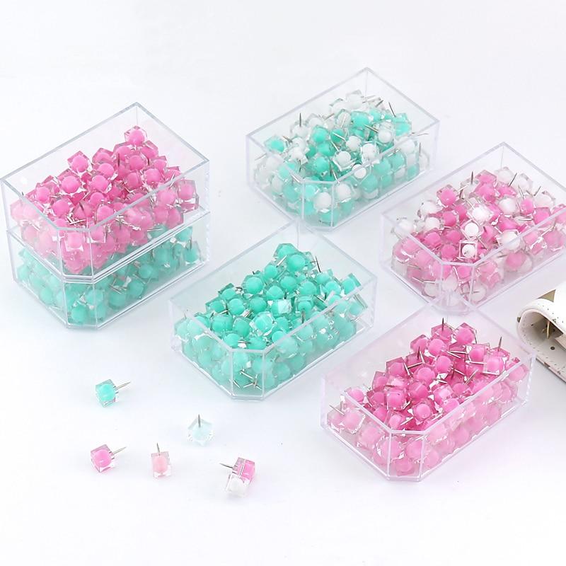 TUTU 80 Pcs/box Ball Head Pin Jelly Thumb Tacks Marcaron Color Push Pins Thumbtack Pins For Cork Board Decorative H0224