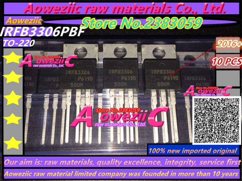 Aoweziic  2016+  100% New Imported Original  IRFB3306PBF IRFB3306 TO-220 Power Field Effect Transistor 60V 120A