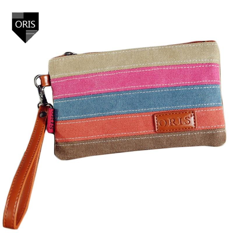 Designer ORIS Patchwork Women's Day Clutches Quality Canvas Purse Bag Wallet Fashion Stripes Phone Bag Portable Female Handbags
