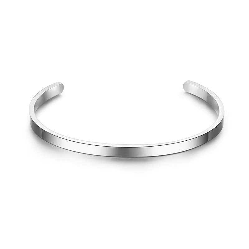 V.YA Fashion Simple Engraved Bracelet For Men & Women Customized Bangle Rose Gold/ Silver Color Stainless Steel For Friends Gift