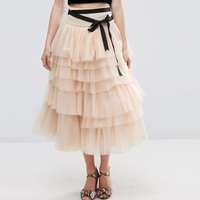 Peach Color Tiered Ankle Length Women Tulle Skirt For Prom With Black Sash Women Tutu Skirt Bottom saia maxi skirt Lady Clothing