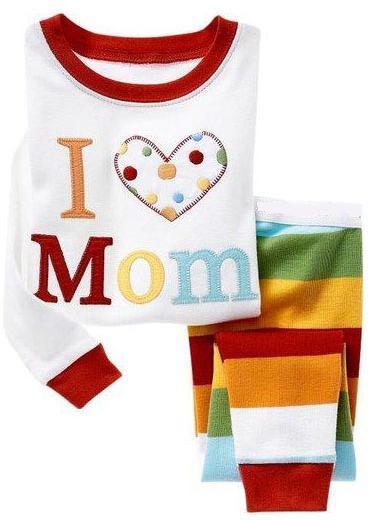 PT1, я люблю маму, детские, для малышей девочек пижамы для мальчиков, 100% хлопок Длинные рукава одежда для сна с рисунком комплекты для 2-7 лет.