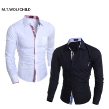 M.T.WOLFCHILD 2017 new fashion style mens lapel collar slim shirts casual mens solid color shirts business Men's shirts cotton