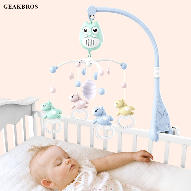 Baby Toys 0 12 Months Crib Mobile Musical Bed Bell With Animal Horse Rattles Cartoon Early Learning Kids Baby Sleeping Toy Gift