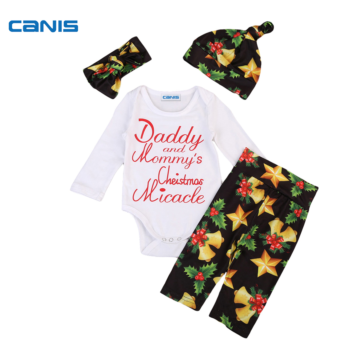2017 New Brand Christmas Newborn Toddler Infant Baby Girls Clothes Romper Floral Leggings Pant Headband Hat 4Pcs Outfits Set 4pcs set baby girls clothing newborn baby clothes christmas infant jumpsuit clothes xmas bebe suits toddler romper tutu dresses