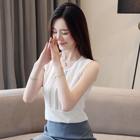 Korean Fashion Chiffon Women Blouses Sleeveless White Women Shirts Plus Size Womens Tops and Blouses Femininas Elegante