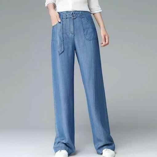 קיץ סתיו אביב נשים ג 'ינס מכנסיים רחב רגל Tencel ג' ינס נשי תחרה עד גבוהה מותן בציר חגורת DF200