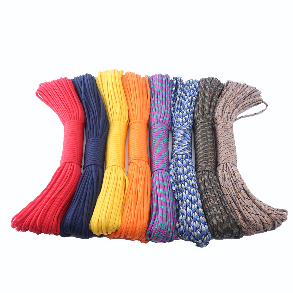 DHL Free 15,40,60 pieces/lot Paracord 550 100FT Rope Type III 7 Stand Paracord Parachute Cord Outdoor Survival kit Wholesale 25 50 100ft paracord 550 paracord parachute cord lanyard rope mil spec type iii 7 strand climbing camping survival equipment