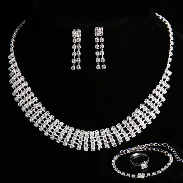 4 pieces / set Engagement Wedding Jewelry Sets Crystal Necklaces for Women Acces