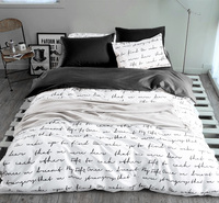 Duvet Cover Sets Russia USA Europe Size White and Black Bedding sets King Quilt cover set Bed Cover Home Textiles Letter