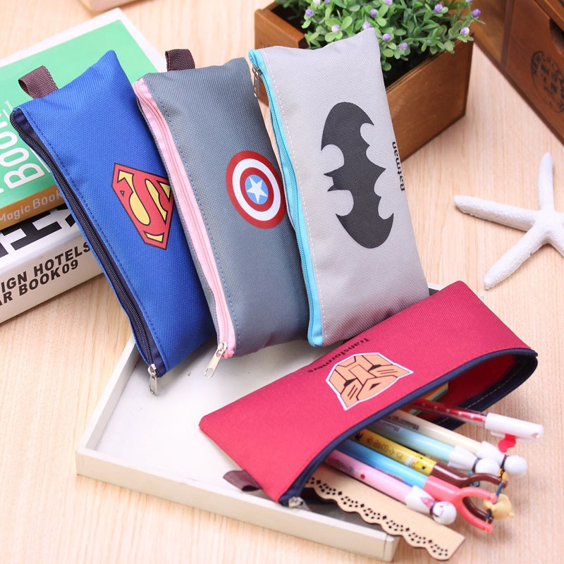 Cute Batman Superman School Pencil Case Cartoon Hero Pencil Case For Girls  Kawaii Stationery Bag Office School Supplies Escolar