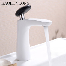 BAOLINLONG Paint White Basin Bathroom Faucets Brass Deck Mount Vanity Vessel Sinks Mixer Faucet Tap