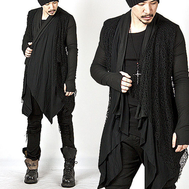 Plus Size New Trendy Mens Knitted Tops Avant-garde Unique Mesh Accent Arm Warmer Shawl Cardigan Long Sleeve Coat Size M-3XL 1