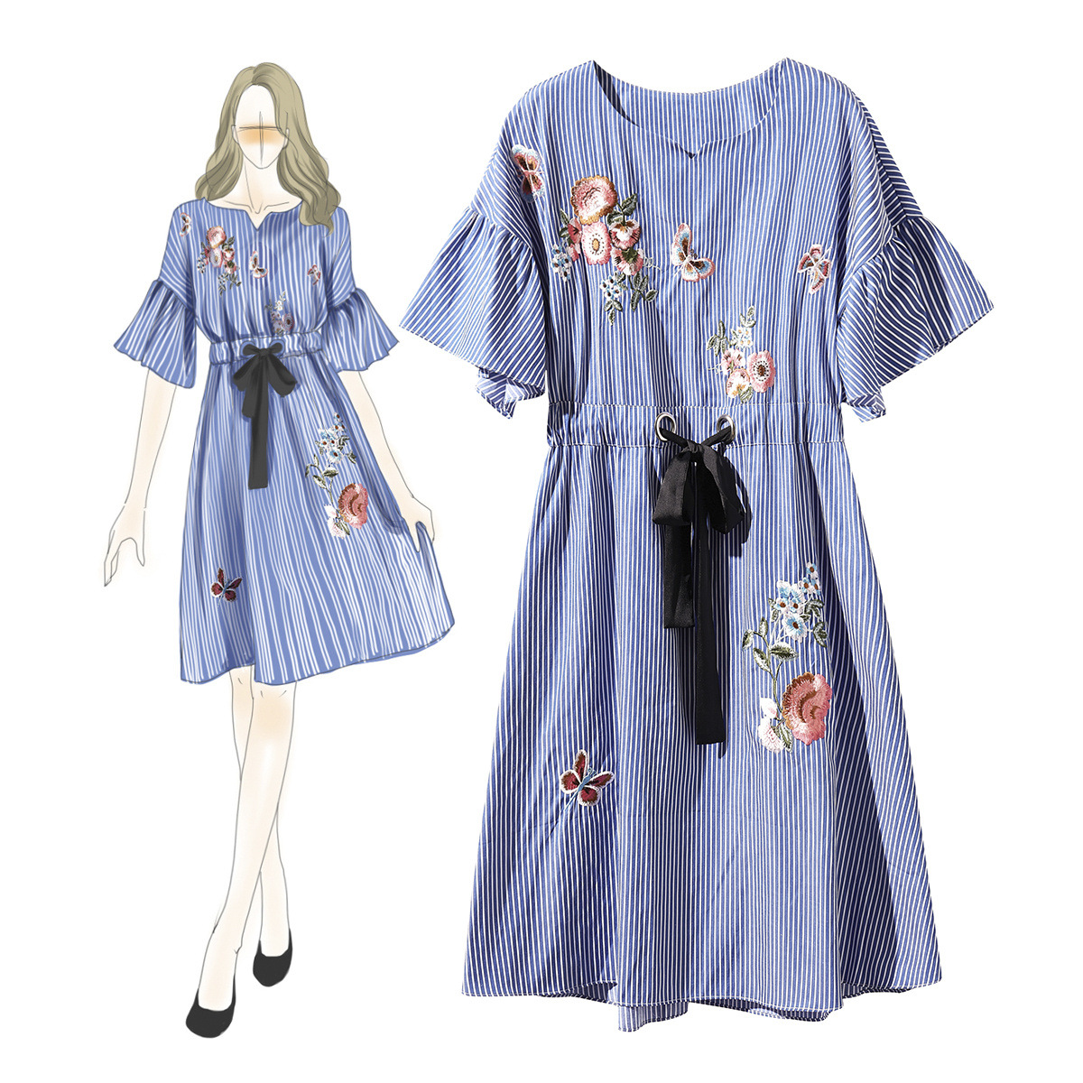 Conception Unique mode dame printemps nouvelle robe rayée coton broderie été Boutique robes pour les femmes