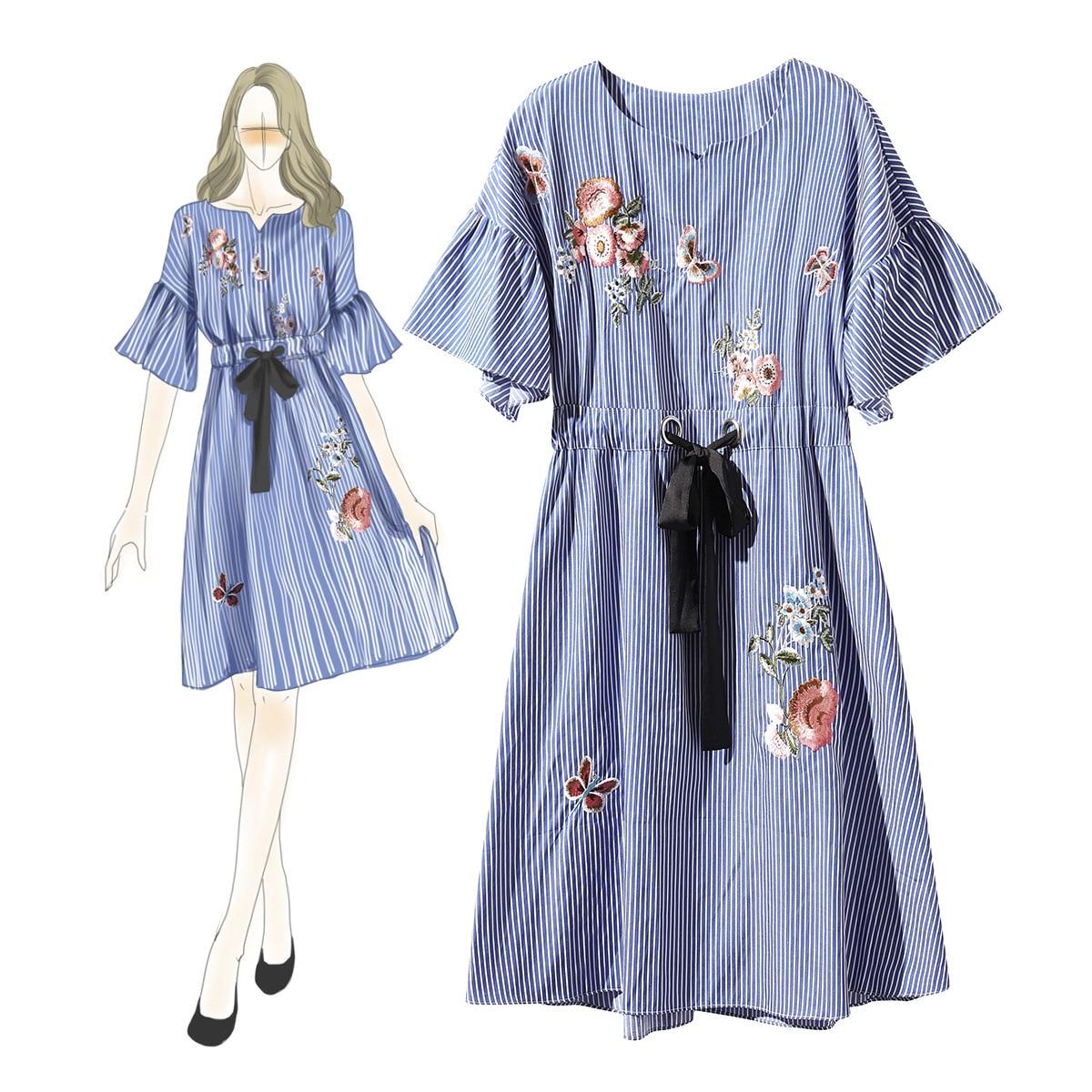 Unique Design Fashion Ladys Spring New Striped Dress Cotton Embroidery Summer Boutique Dresses for Women