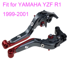 KODASKIN Left and Right  Folding Extendable Brake Clutch Levers for YAMAHA YZF R1 1999-2001 for yamaha yzf r1 1999 2001 foldable extendable brake clutch levers aluminum alloy folding