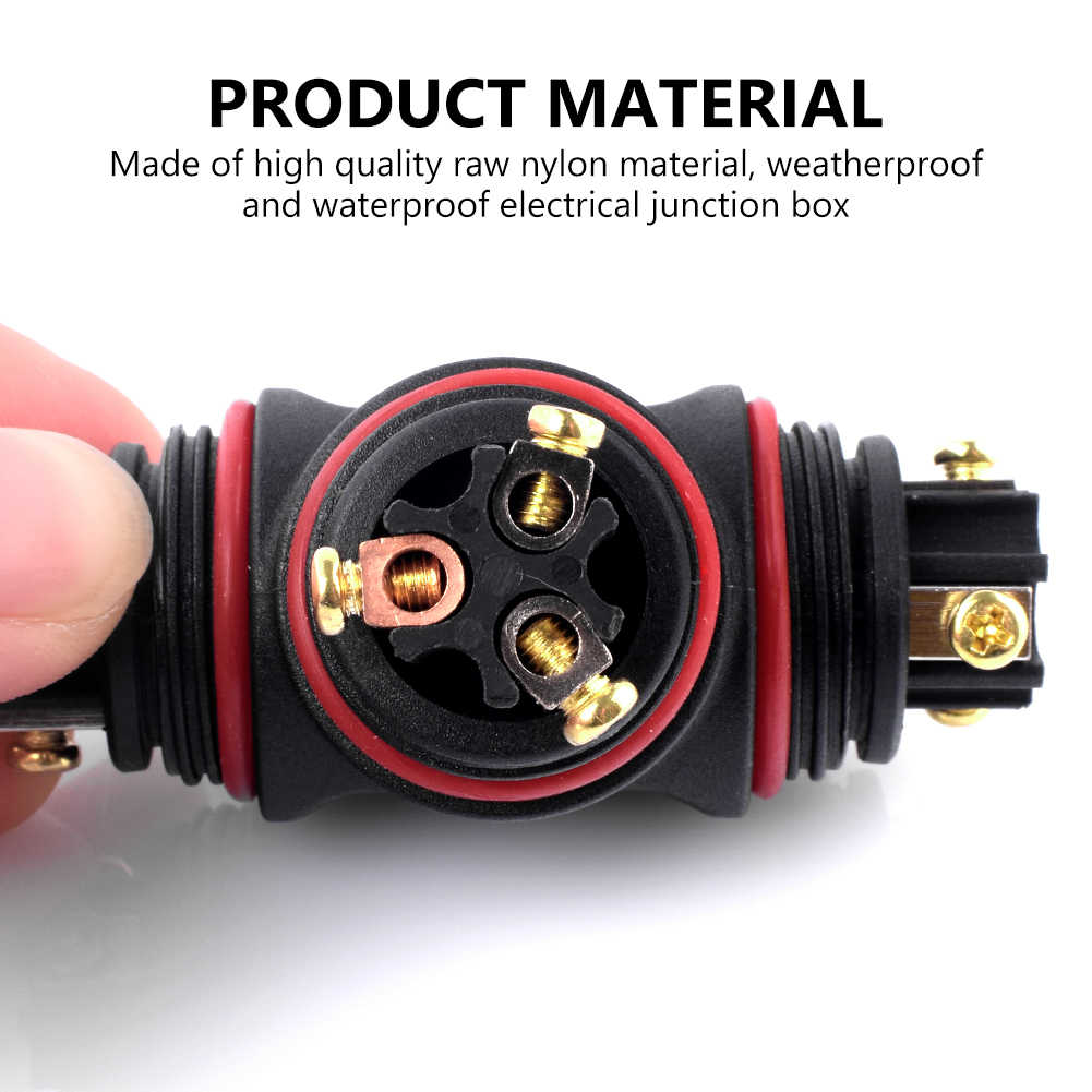 IP67 Waterproof Electrical Cable Wire 3 Pin Stable Outdoor Connector Socket