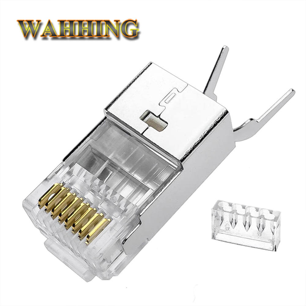 Crystal Cat7 Cat6a Cat6 RJ45 Connector Cat 7 Cable Network Connector Rj45 Plug Metal Shielded RJ45 Connectors Cable HY1552
