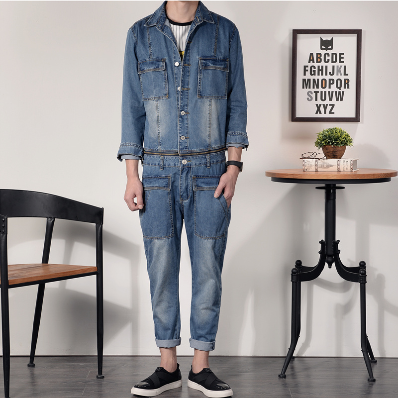 New Men's Denim Overalls Men Slim Fit Cotton Casual Jeans Jumpsuits for Men Long Sleeves Zipper Patch Trousers Clothing male suspenders 2016 new casual denim overalls blue ripped jeans pockets men s bib jeans boyfriend jeans jumpsuits