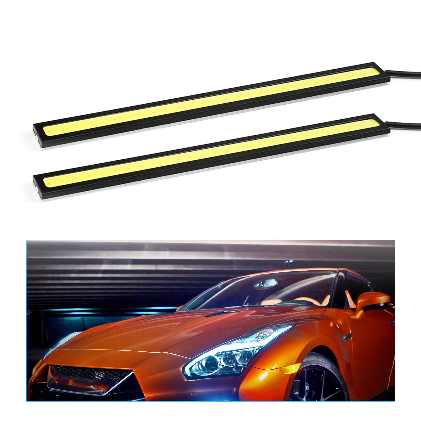1 adet 17cm evrensel gündüz farı COB DRL LED araba farı dış işıklar otomatik su geçirmez araba Styling Led DRL lambası