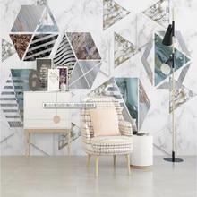 Jazz white marble modern minimalist geometric TV background wall painting