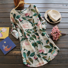 Rustic Peony flowers fresh spring green leaves print o neck loose shirt mori girl