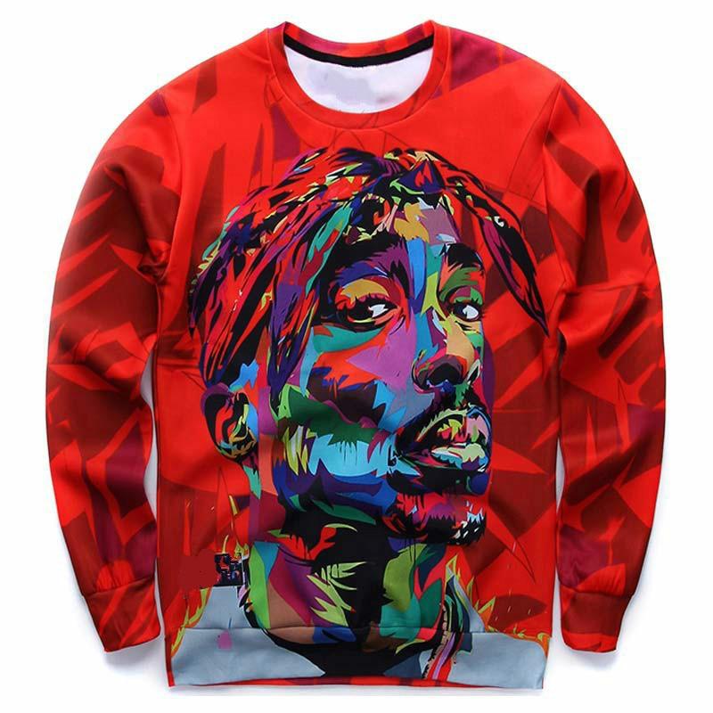 New 3D Sweatshirt Men Hood Pullovers Print Rapper Hip Hop Hoodies Long Sleeve Tops Red Plus Size