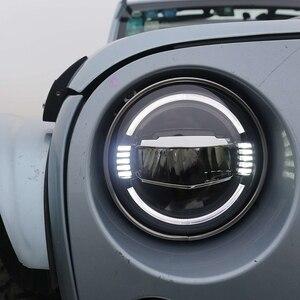 """Image 2 - Acessórios do carro led 7 Polegada farol para jeep wrangler jk 7 """"branco azul âmbar auréola faróis para hummer lada 4x4 urbano niva"""