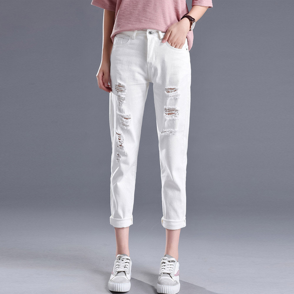 New Women Ripped Holes   Jeans   Slim Denim Harem Pants Classic Black White Loose Boyfriend Style Casual   Jeans   Ankle-Length Pants