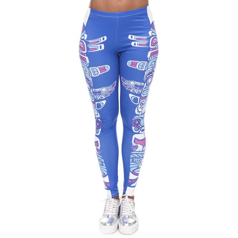 Brands Women Fashion Legging Aztec Round Ombre Printing leggins Slim High Waist  Leggings Woman Pants 27