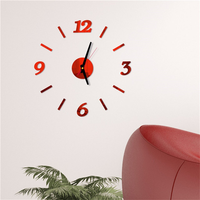 diy Mirror Wall Clock Sticker Acrylic 3D Roman Numbers Clock Wall Art Watch Decals Wall Clocks for Living Room Home Office 9M14 4