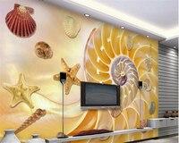 Beibehangデラックス壁紙貝殻ヒトデテレビ壁装飾絵画papelデparede壁紙壁用3 d張り子peint