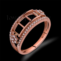 Romantic Solid 14Kt Rose Gold Real Diamond Ring Mounting,Semi Mount Ring Princess Cut 4.5x4.5mm For Sale WU191