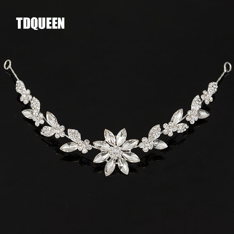 Brude Rhinestone Crystal Hair Vine Tiara Crown Bryllup Kam Hair Chain Headpiece Floral Headband Hair Ornaments for Women