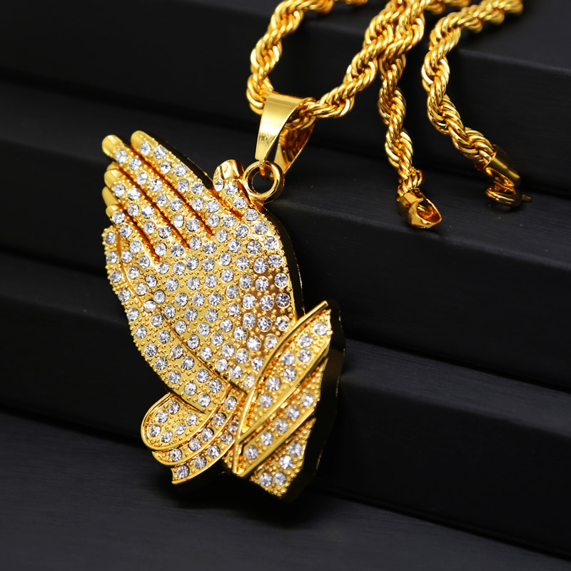 Mens iced out praying hands pendant necklace with 30 inch rope chain mens iced out praying hands pendant necklace with 30 inch rope chain 24k gold labmade hip hop bling prayer jesus hand necklace in pendant necklaces from aloadofball Choice Image