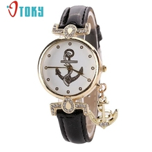 OTOKY wrist Watch for Ladies Vintage Crystal Watches Anchor Leather Quartz Clock Casual Woman Dress Watches #30 Gift 1pc