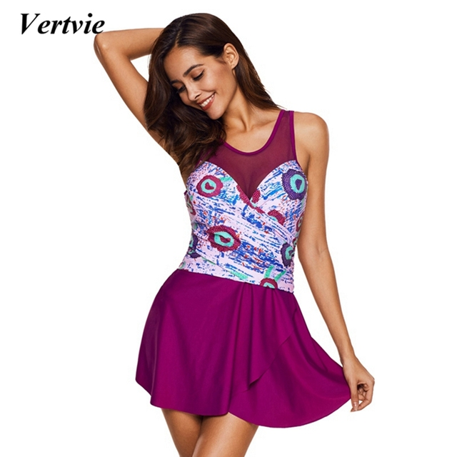 1aced50f32a Vertvie 2018 New Sexy One Piece Swimsuit Mesh Patchwork Bathing Suit Plus  Size Bohemia Beachwear Print Women Dress Summer Skirts