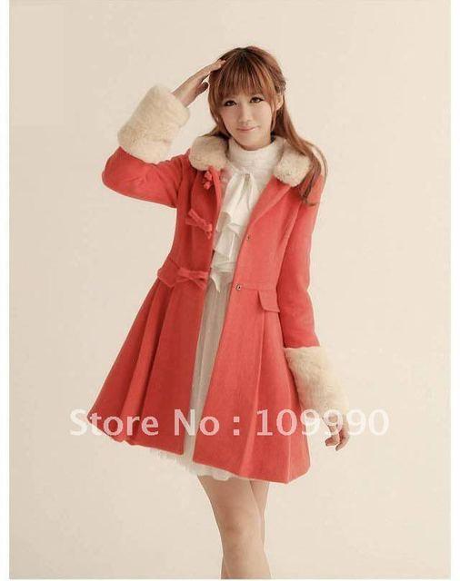Red mulheres simples bonito saia gola de pele elegante nobre auspicioso perfeito jaqueta