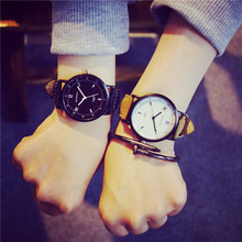 Style Unisex Leather-based Strap Watches Woman Quartz Ladies Gown Watch Males Luxurious Model Males Watch For Lovers Black White