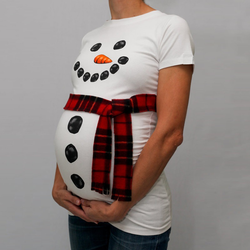 5ddb19d77d637 Trendy Tops of Maternity Clothes for Pregnant Women T Shirts Funny  Christmas Snowman Print Pregnancy Clothing without scraf -in Hoodies from  Mother & Kids ...