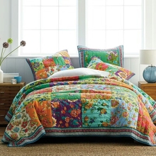 CHAUSUB Cotton Bedspread Quilt Set 3PCS Coverlets Handmade Patchwork Bed Cover Pillowcase King Size American Quilted Quilts