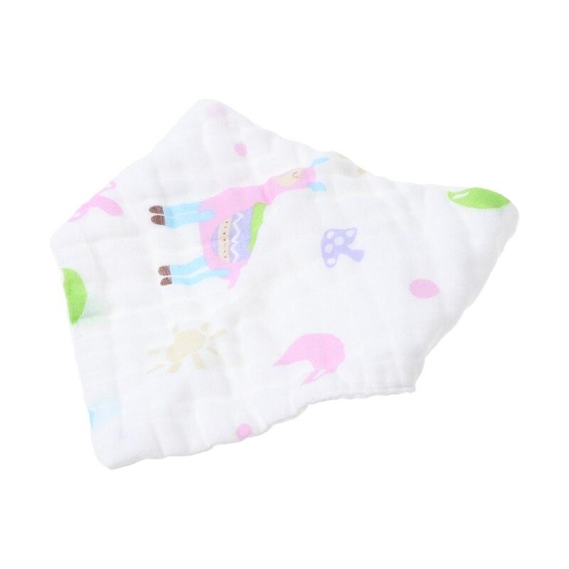 Baby Towel Bibs Triangle Head Scarf Bandana Soft 6 Layer Gauze Print Burp Bibs