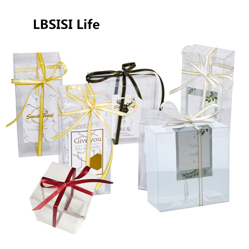 LBSISI Life 10/50pcs Transparent Candy Box Gift Box Clear Plastic Cookie PET Boxes Wedding Favor DIY Decoration коробка