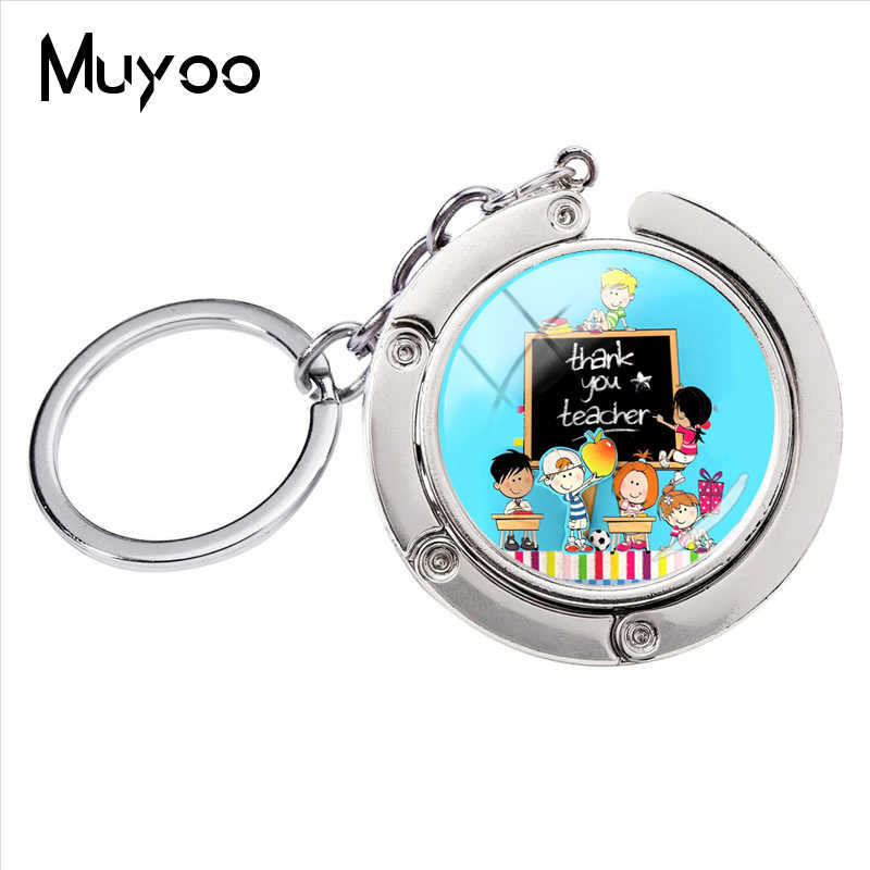 New Fashion Glass Round Cabochon Thank you Teacher 's Bag Hanger Keychain The Handmade Gift for Teacher 's Day jewelry Key Ring