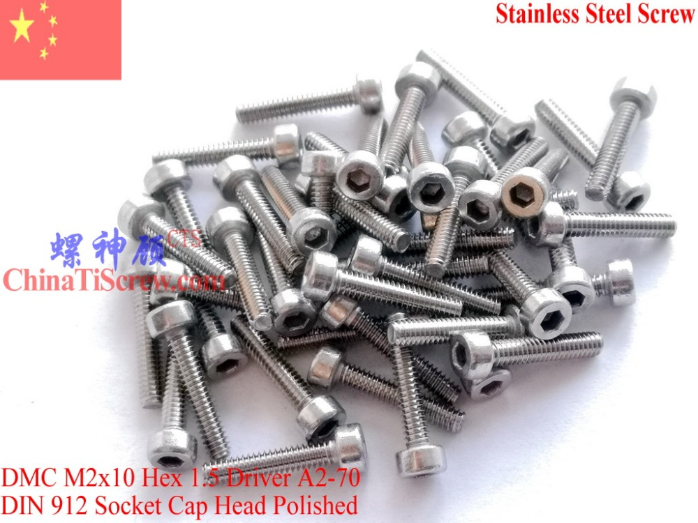 Stainless Steel screws M2x10 DIN 912 A2-70 Polished ROHS 100 pcsStainless Steel screws M2x10 DIN 912 A2-70 Polished ROHS 100 pcs