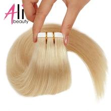 Human-Hair-Extensions Tape-In Brazilian-Machine Weft ALI Straight PU BEAUTY Adhesive
