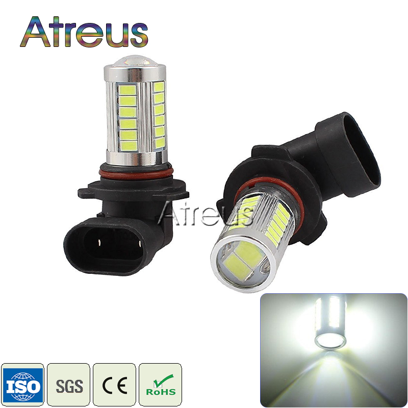 2X White High Power 33 LED 9005 HB3 SMD5630 Daylight Car LED Fog Driving Lights Daytime Running Lights Auto Lamp LED HB3 + lens 2x car led 9006 hb4 5630 33 smd led fog lamp daytime running light bulb turning parking fog braking bulb white external lights